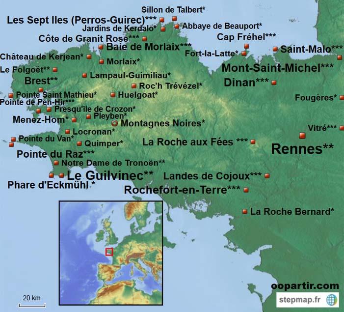 France-Bretagne - Carte de la Bretagne